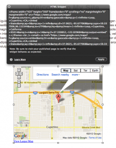 Copy Google Maps Code to HTML Widget