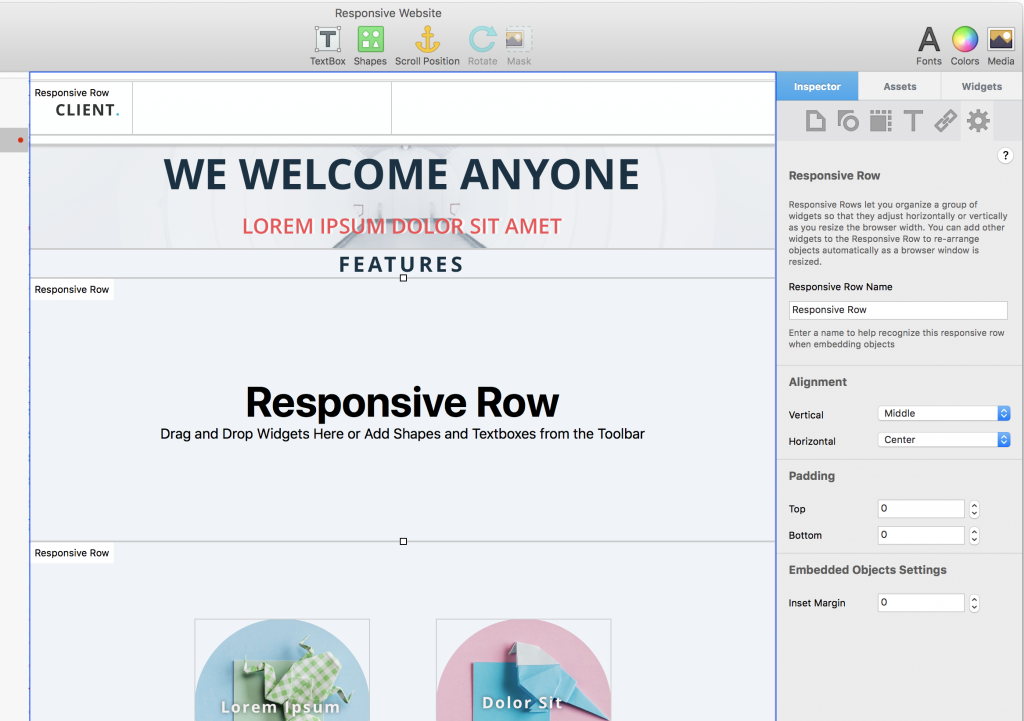 Responsive Row Settings for EverWeb