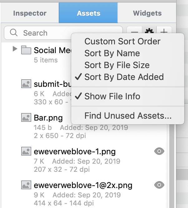EverWeb 3.0 Sorting Assets