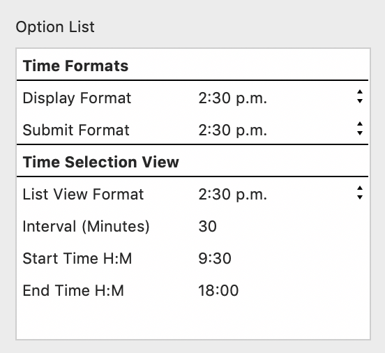 Contact Form: Select Time Options