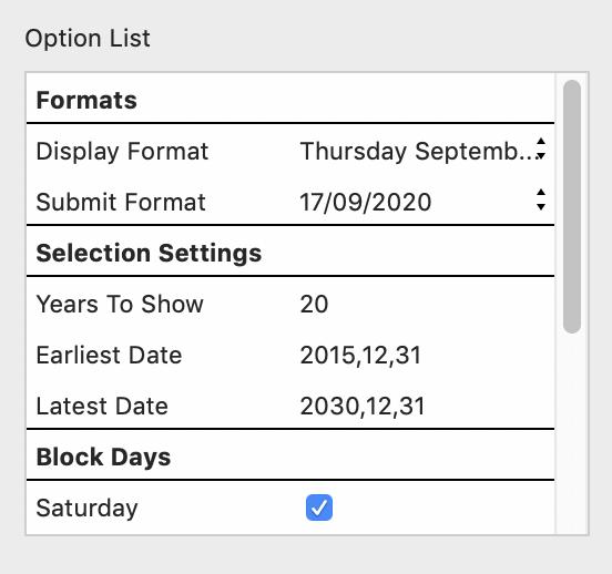 Contact Form: Calendar Options
