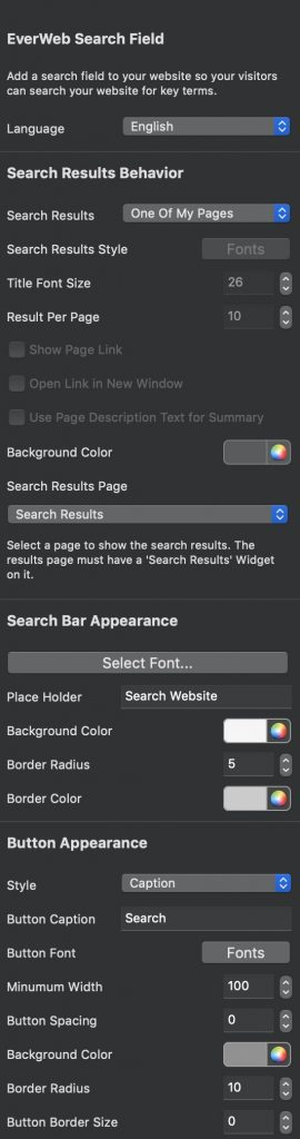 EverWeb Search bar inspector